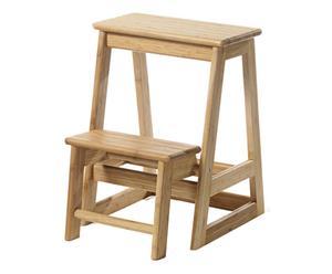 Escalera de tijera de madera de bambú - natural