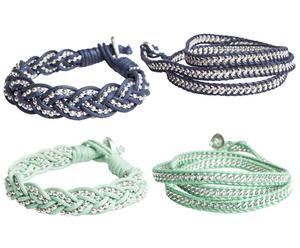 Set de 4 pulseras Chandrima – azul y verde menta