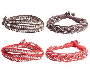 Set de 4 pulseras Chandrima – rojo y marrón