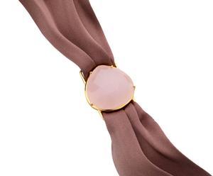 Pulsera de seda con piedra de cuarzo – marrón y rosa
