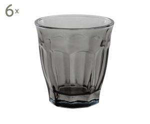 Set de 6 vasos de vidrio - gris