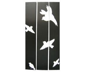 Decoración de pared 3 paneles, pájaros – blanco y negro