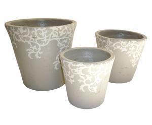 Set de 3 macetas de cerámica – beige