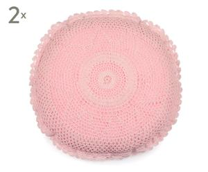 Set de 2 cojines redondos de algodón – rosa