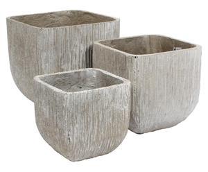 Set de 3 macetas de arena y cemento