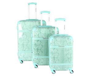 Set de 3 maletas de policarbonato y PVC– verde claro