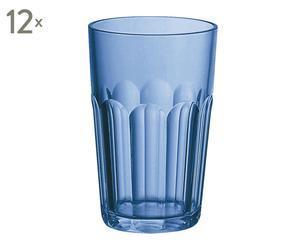 Set de 12 vasos de plástico - azul