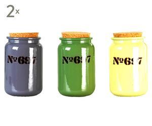 Set de 6 tarros de vidrio DELFT - multicolor