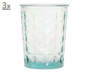 Set de 3 portavelas de cristal reciclado – transparente