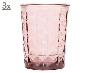 Set de 3 portavelas de cristal reciclado – rosa