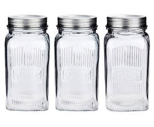 Set de 3 tarros de vidrio y cristal