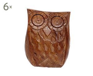 Set de 6 tiradores de madera Owl