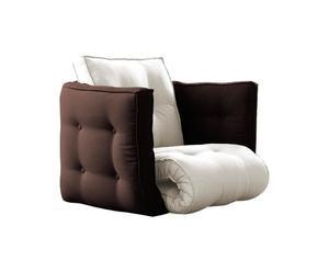 Sillón futón multifuncional Dice – beige y marrón