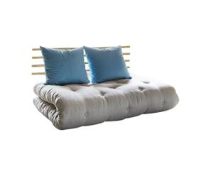 Sofá convertible en cama futón Shin Sano – natural y azul