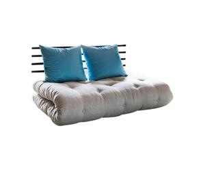 Sofá convertible en cama futón Shin Sano I – natural y azul