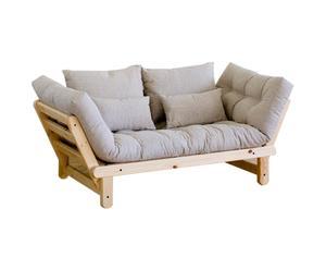 Sofá convertible en cama futón Beat – natural y beige