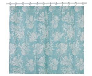 Cortina de ducha de algodón Shells, turquesa – 183x183