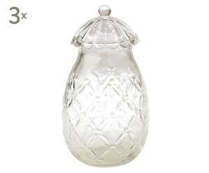Set de 3 frascos de vidrio Vivian