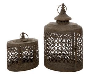 Set de 2 Faroles de metal árabes, ovalados – marrón