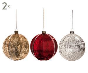 Set de 6 bolas decorativas Navidad - rojo, oro y plata
