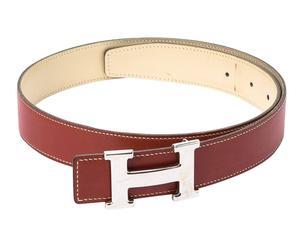 Cinturón de cuero Hermès Constance - marrón