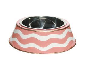Bol para comida de perro  pintado a mano – blanco y rosa
