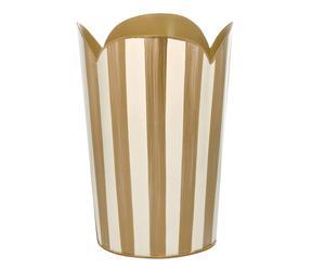 Papelera Stripes – crema y dorado