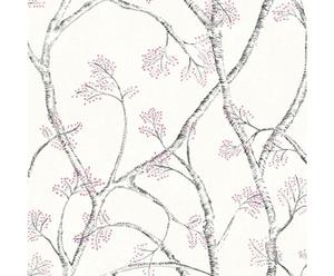 Papel pintado Branchly – blanco y gris