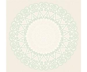 Papel pintado Grand Medaillon – blanco y verde menta