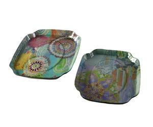 Set de 2 bandejas de vidrio Paisley - multicolor