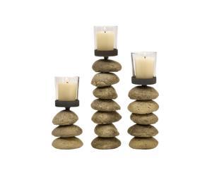 Set de 3 candeleros de piedra y cristal