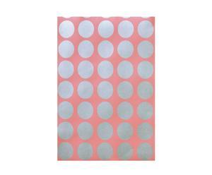 Papel pintado SPOT, círculo pequeño – melocotón y plateado