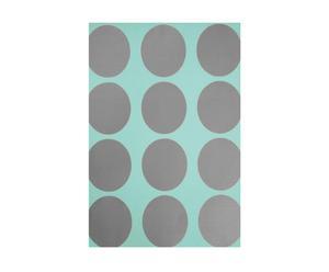 Papel pintado Spot, círculo grande - turquesa y plateado
