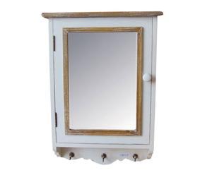 Armario para llaves con espejo – blanco y marrón