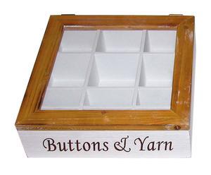 Caja de costura de fibra de madera – blanca y marrón