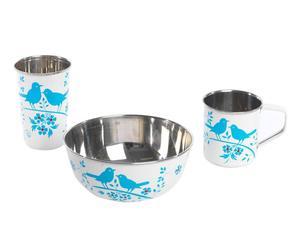 Set de 1 bol, 1 taza y un vaso de camping Bird Song - Blanco y Azul