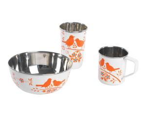 Set de 1 bol, 1 taza y un vaso de camping Bird Song - Blanco y naranja