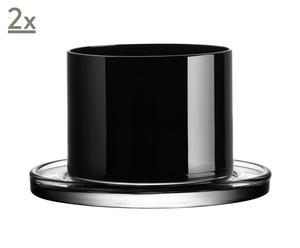 Set de 2 vasos de cristal – negro