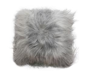 Cojín de piel de cordero de pelo largo - plata