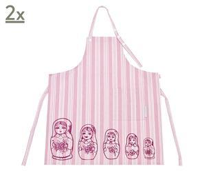 Set de 2 delantales de cocina Inside – rosa