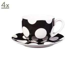 Set de 4 tazas y platillos de porcelana Polka Dots – negro y blanco