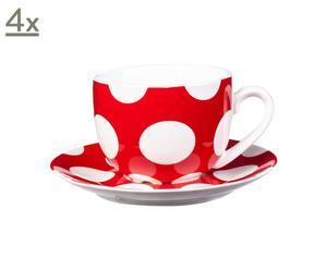 Set de 4 tazas y platillos de porcelana Polka Dots – rojo y blanco