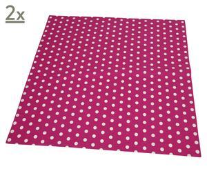 Set de 2 manteles Polka Dots, rosa y blanco – 90x90