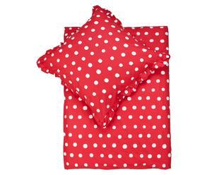 Set de funda nórdica y funda de almohada, rojo y blanco – 135x200