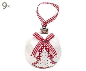 Set de 9 bolas de navidad en cerámica – blanco y rojo