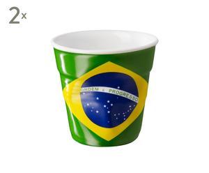 SET DE 2 TAZAS DE CAFÉ ESPRESSO bandera Brasil – MULTICOLOR