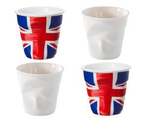 Set de 2 tazas DE CAFÉ espresso y 2 tazas Reino Unido – blanco, azul y rojo