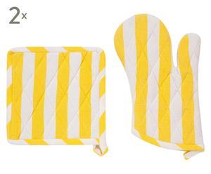 Set de 2 manoplas y 2 agarraderas Vitre – amarillo y blanco