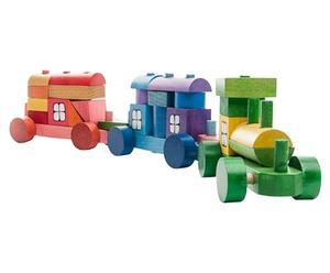 Mini tren de construcción de madera de haya, multicolor – 25 piezas