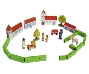 Ciudad infantil de madera de haya, multicolor – 27 piezas